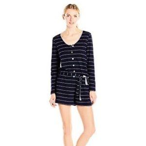NWT Nautica Knit Pajama Romper Navy Stripe XL
